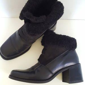 La Canadienne Leather W/Fur Heeled Ankle Boot 7.5